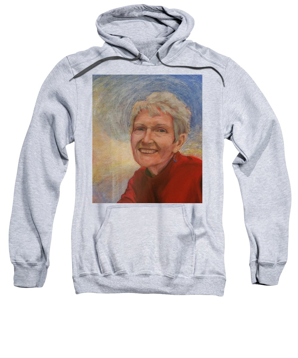 Portrait Sweatshirt featuring the painting Portrait Of Ruth Sentelle by Ron Richard Baviello