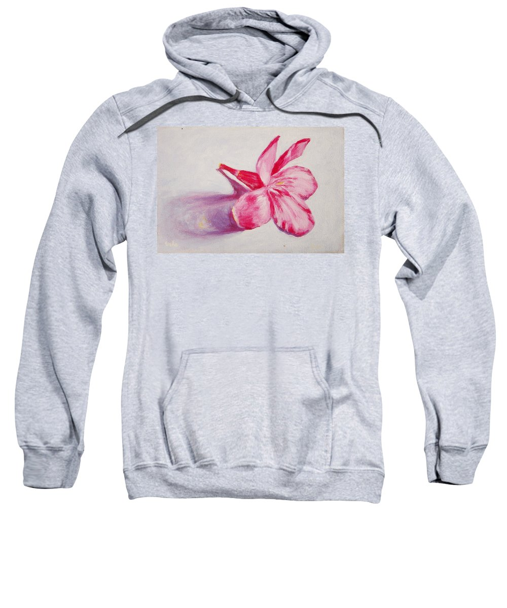 Genneri Sweatshirt featuring the painting Portrait Of The Kaneri Flower. Oleander by Usha Shantharam