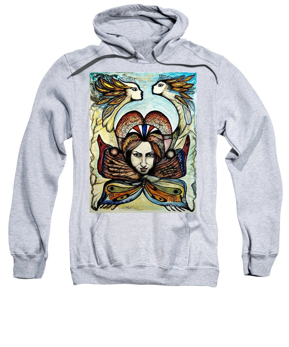 Retrato Sweatshirt featuring the mixed media Portrait With Nature # 4 by Juan Carlos Mulet