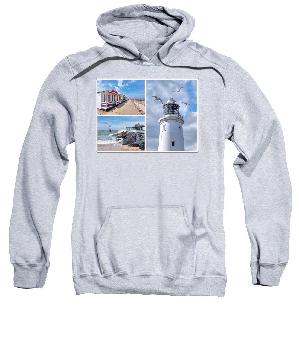 Coastal Scene Sweatshirt featuring the photograph Postcard From Southwold by Gill Billington