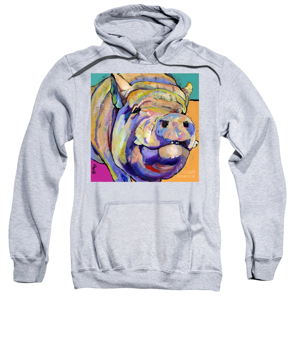 Pig Prints Sweatshirt featuring the painting Potbelly by Pat Saunders-White