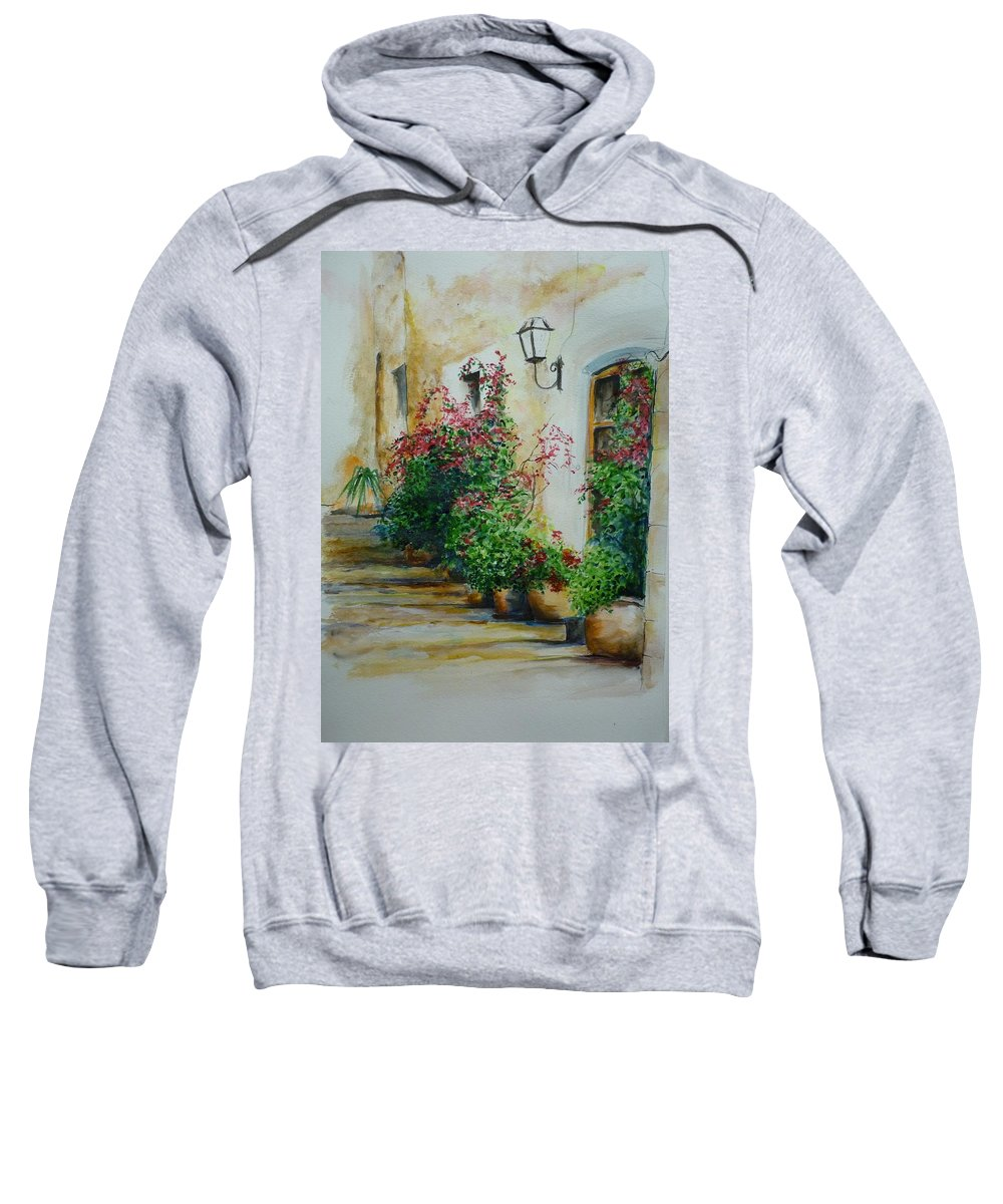 Earthenware Pots Sweatshirt featuring the painting Pots And Plants by Lizzy Forrester
