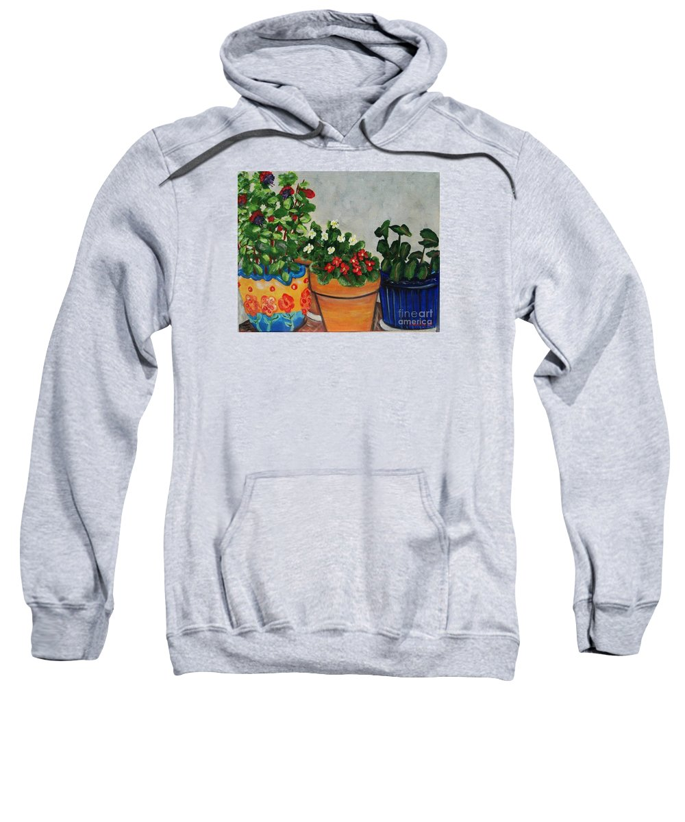 Ceramic Pots Sweatshirt featuring the painting Pots Showing Off by Laurie Morgan