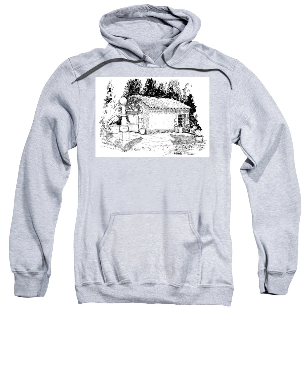 Architecture Sweatshirt featuring the drawing Potting Shed At Le Coin Retro In Le Thor France by Ken Pieper