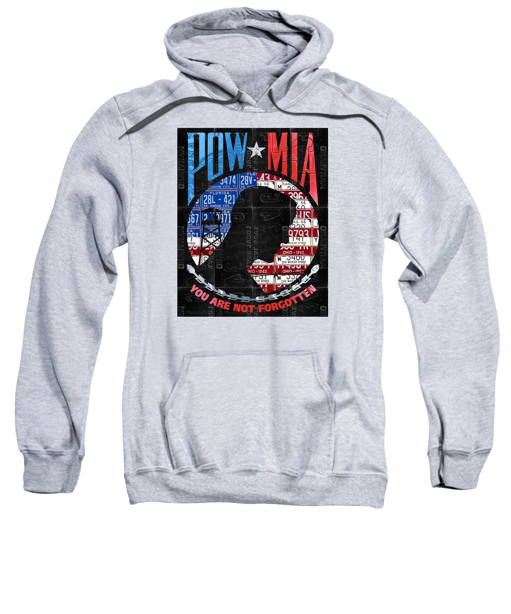 ceecc3d1a Pow Sweatshirt featuring the mixed media Pow Mia You Are Not Forgotten  Recycled Vintage American License
