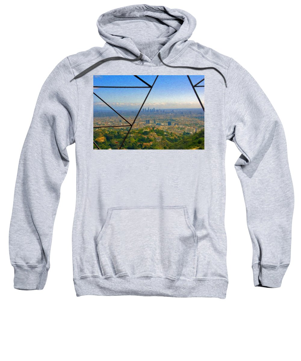 Power Lines Los Angeles Skyline Sweatshirt featuring the photograph Power Lines Los Angeles Skyline by David Zanzinger