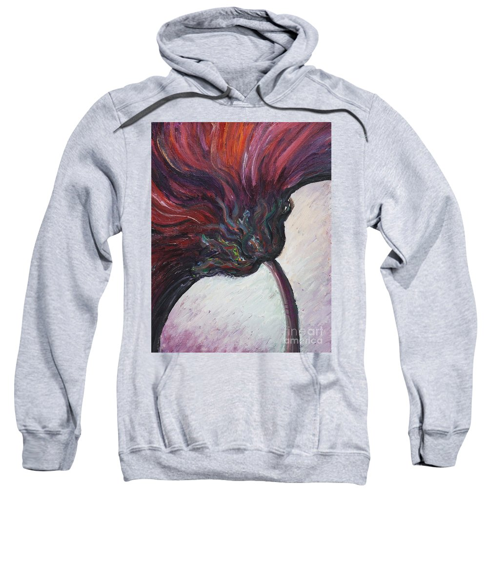 Purple Sweatshirt featuring the painting Power Of Purple by Nadine Rippelmeyer