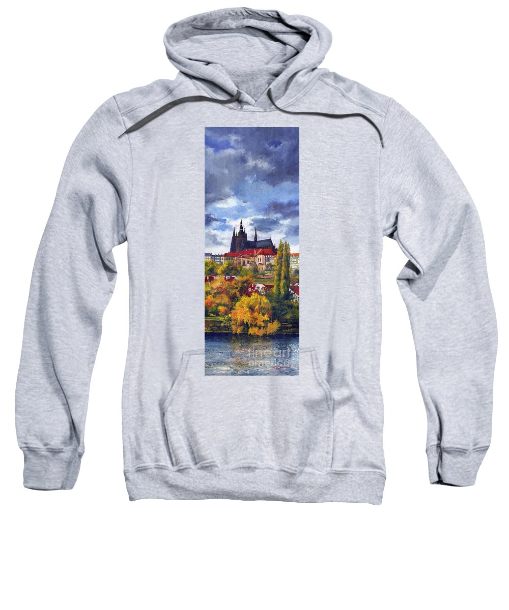 Prague Sweatshirt featuring the painting Prague Castle With The Vltava River by Yuriy Shevchuk