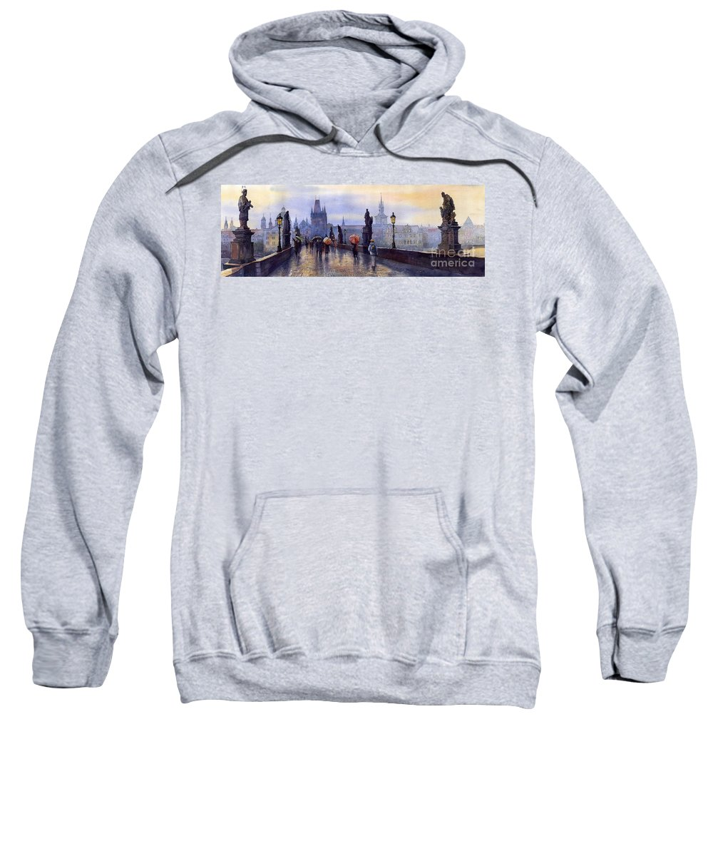 Cityscape Sweatshirt featuring the painting Prague Charles Bridge by Yuriy Shevchuk