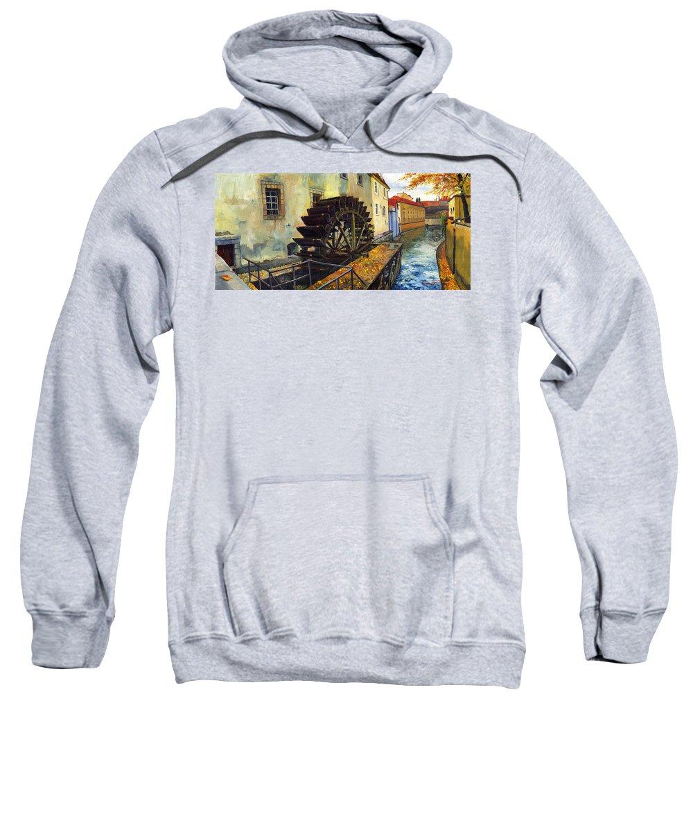 Prague Sweatshirt featuring the painting Prague Chertovka by Yuriy Shevchuk