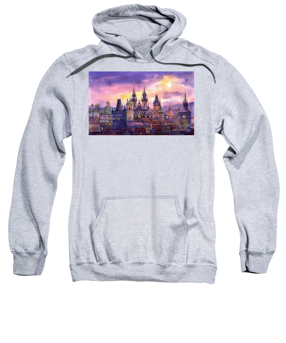 Architecture Sweatshirt featuring the painting Prague City Of Hundres Spiers Variant by Yuriy Shevchuk
