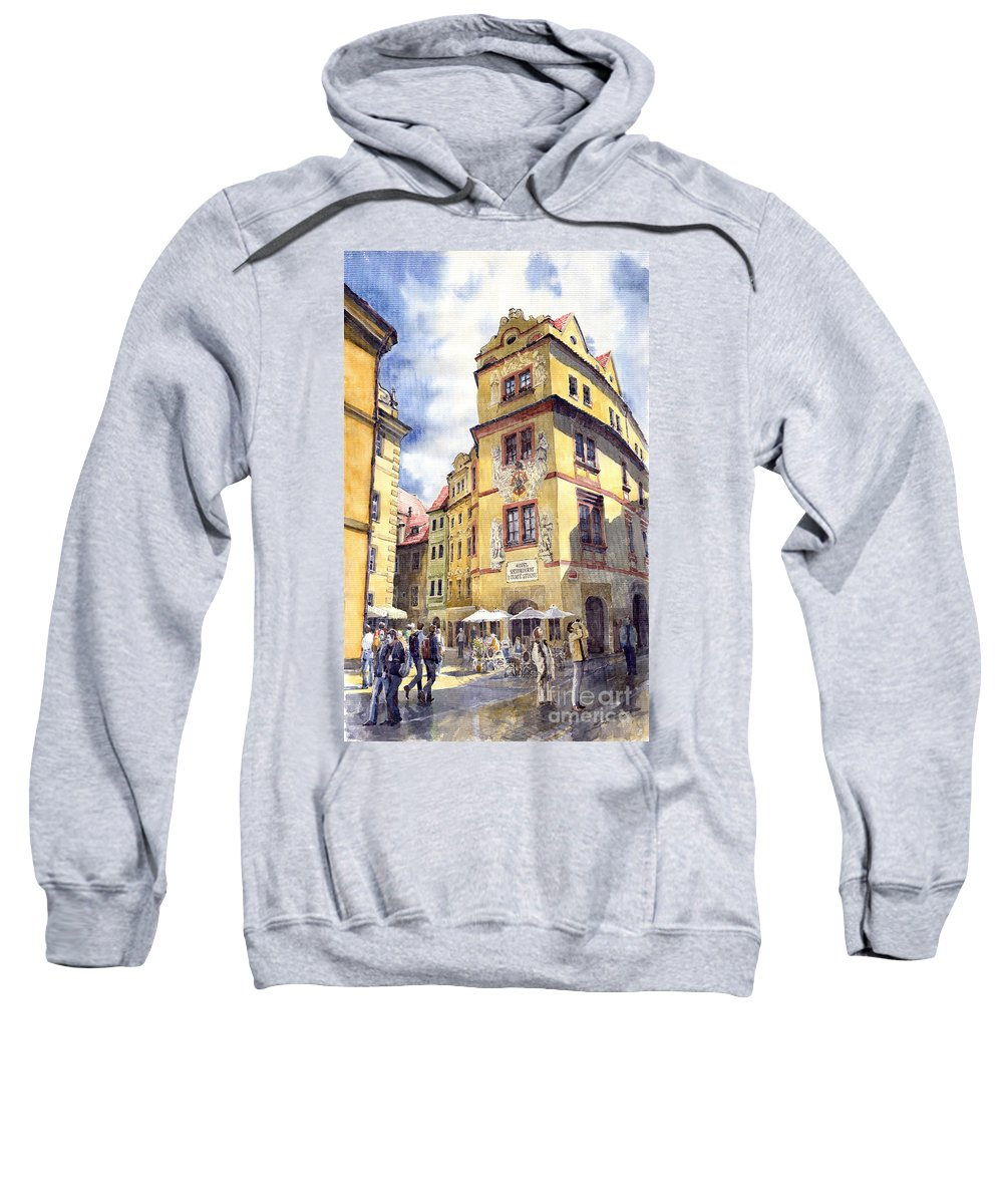 Architecture Sweatshirt featuring the painting Prague Karlova Street Hotel U Zlate Studny by Yuriy Shevchuk
