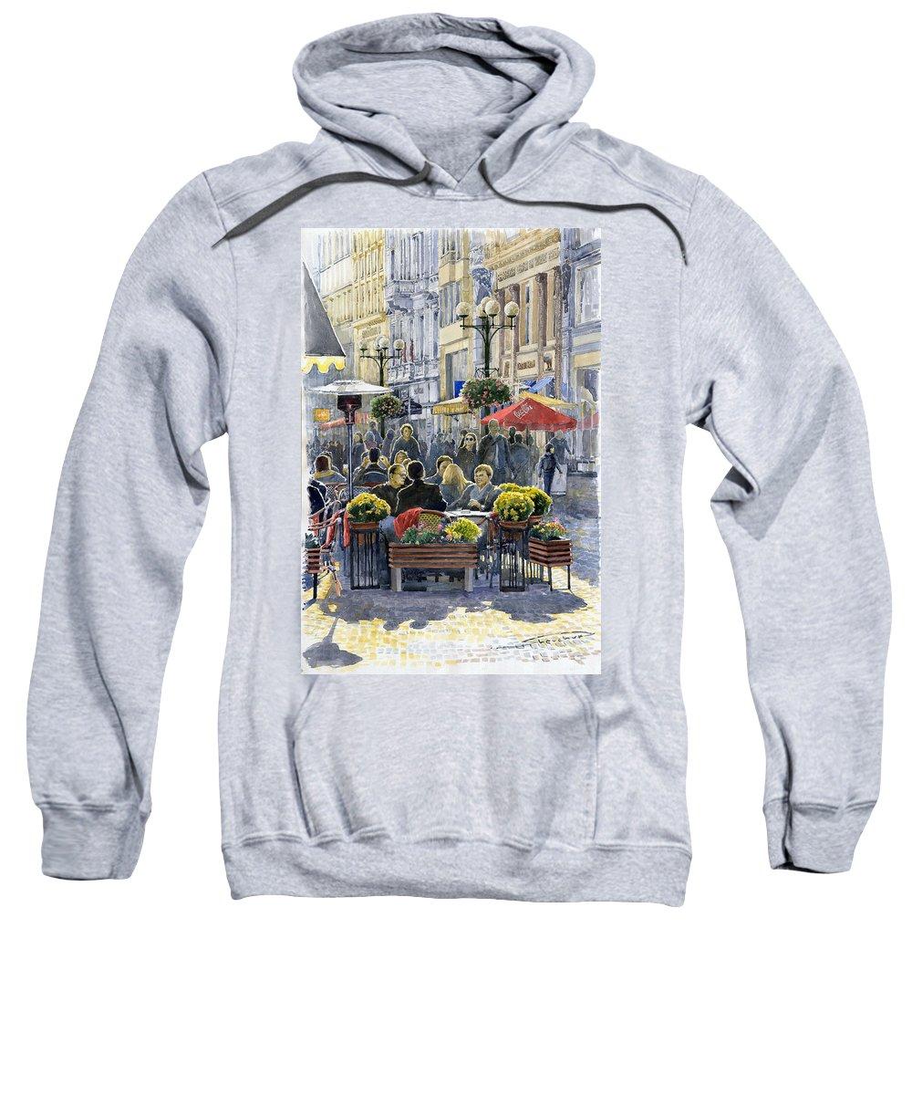 Watercolor Sweatshirt featuring the painting Prague Mustek First Heat by Yuriy Shevchuk