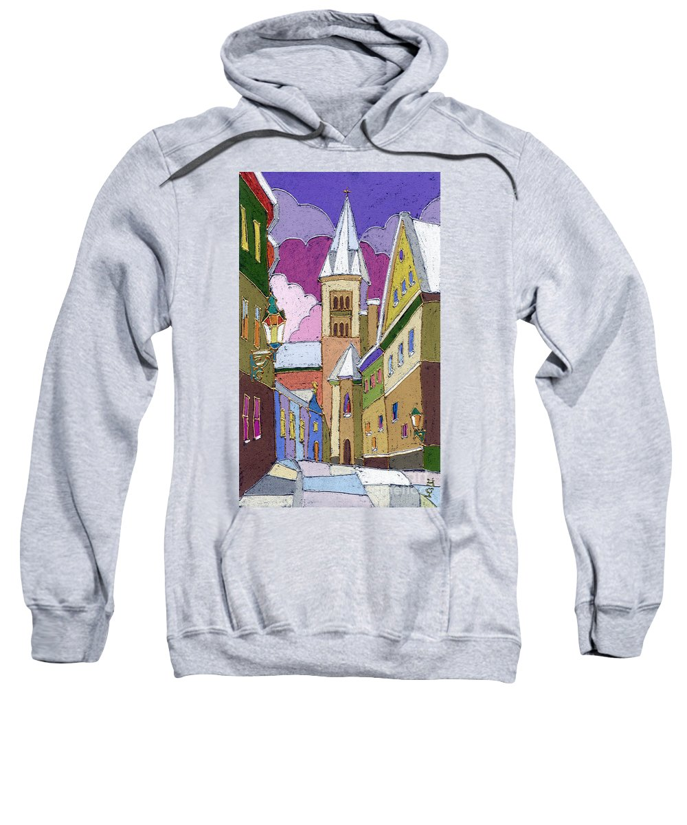 Pastel Sweatshirt featuring the painting Prague Old Street Jilska Winter by Yuriy Shevchuk