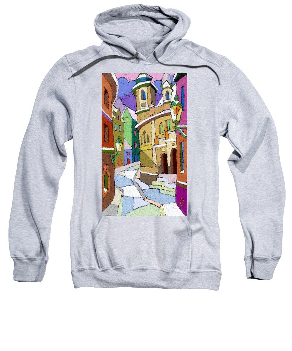 Pastel Sweatshirt featuring the painting Prague Old Street Karlova Winter by Yuriy Shevchuk