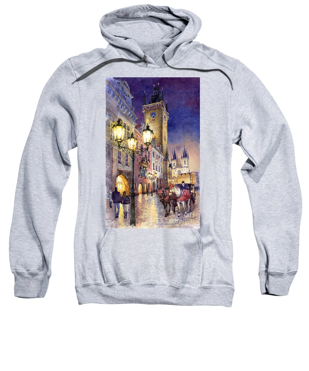 Cityscape Sweatshirt featuring the painting Prague Old Town Square 3 by Yuriy Shevchuk