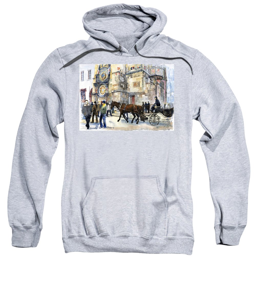 Watercolour Sweatshirt featuring the painting Prague Old Town Square Astronomical Clock Or Prague Orloj by Yuriy Shevchuk