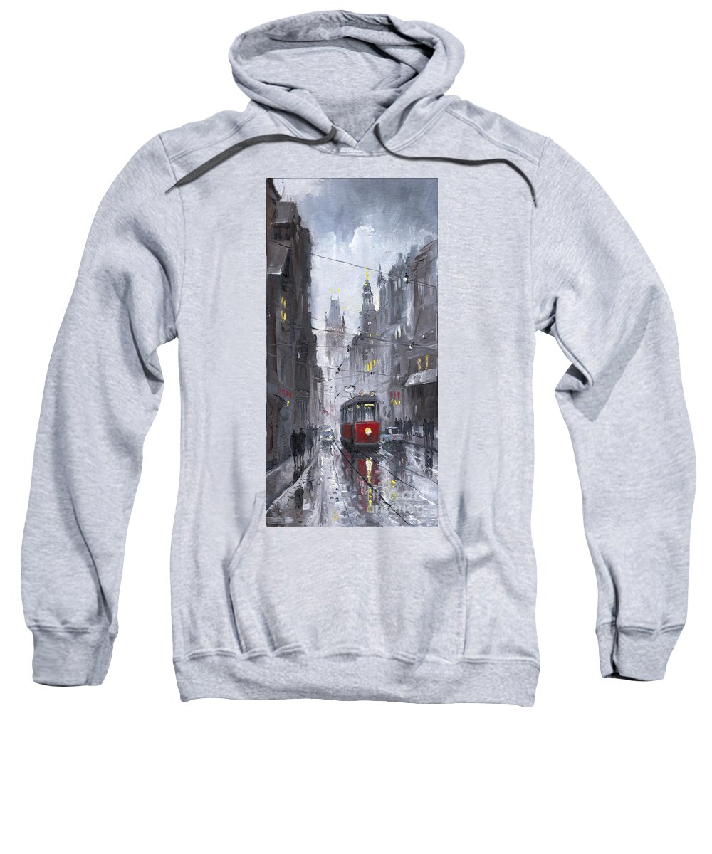 Oil On Canvas Sweatshirt featuring the painting Prague Old Tram 03 by Yuriy Shevchuk