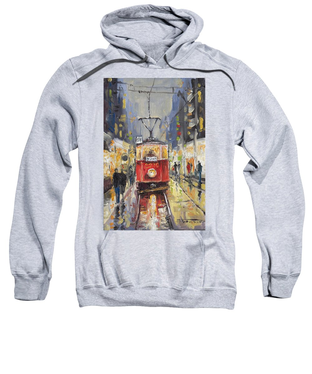 Oil Sweatshirt featuring the painting Prague Old Tram 08 by Yuriy Shevchuk