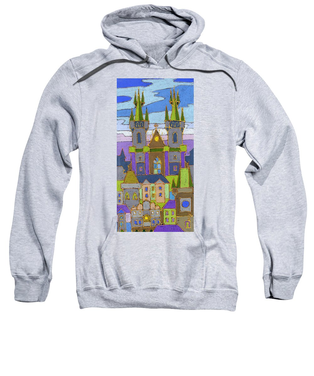 Pastel Sweatshirt featuring the painting Prague Panorama by Yuriy Shevchuk