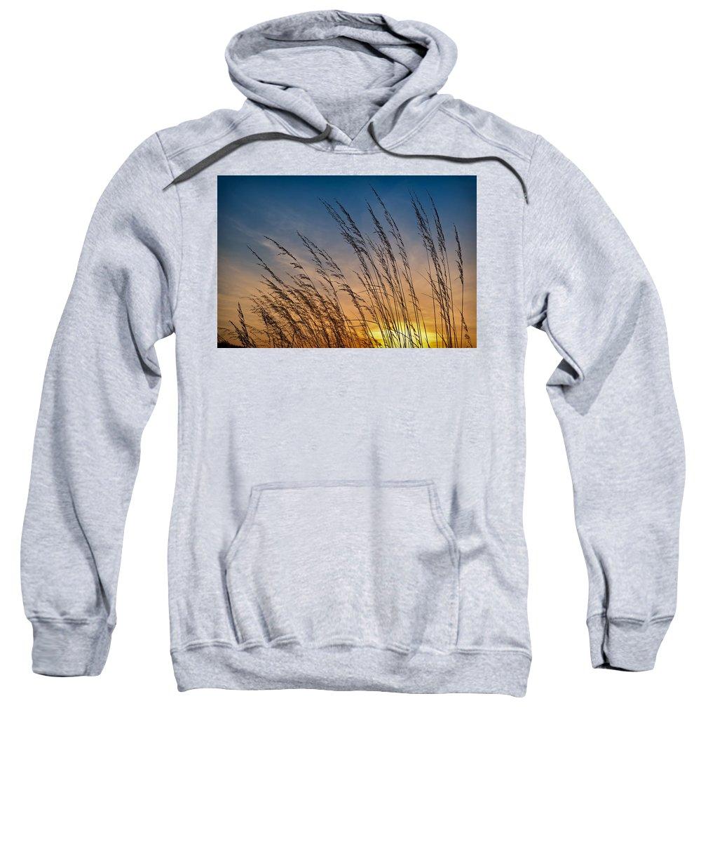 Prairie Sweatshirt featuring the photograph Prairie Grass Sunset by Steve Gadomski
