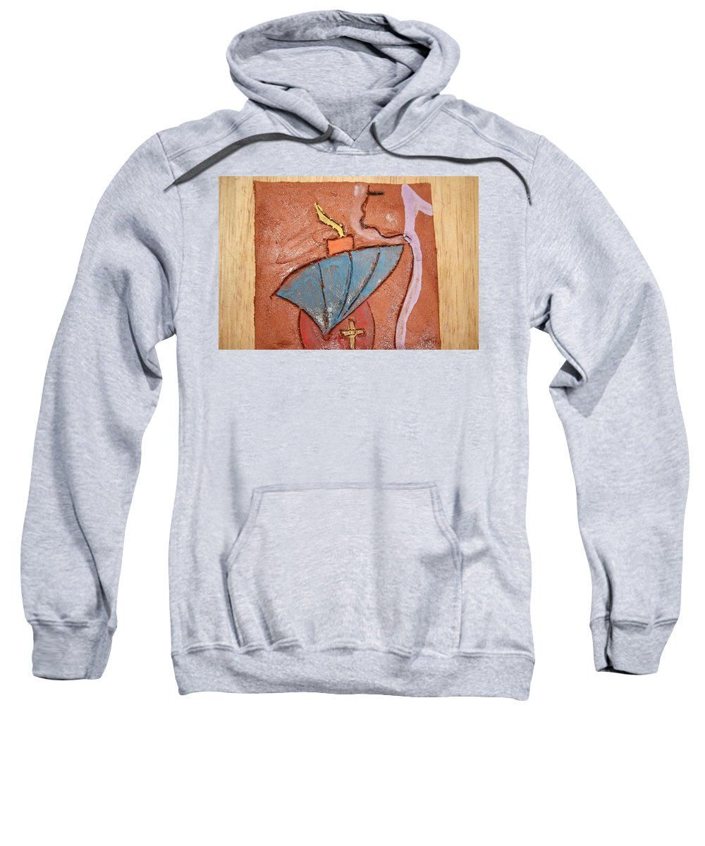 Jesus Sweatshirt featuring the ceramic art Prayer 25 - Tile by Gloria Ssali
