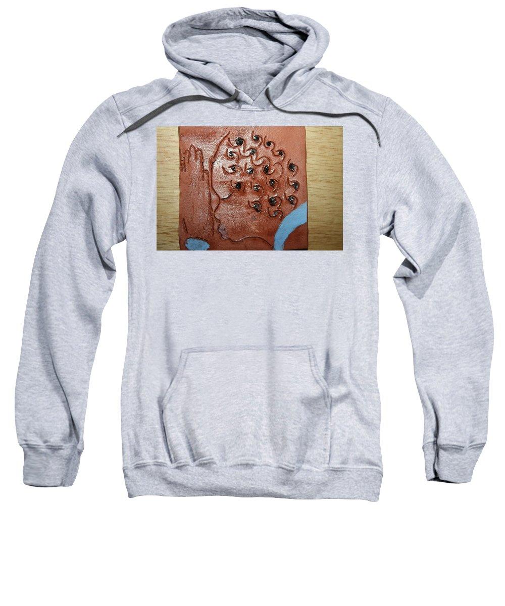 Jesus Sweatshirt featuring the ceramic art Prayer 35  - Tile by Gloria Ssali