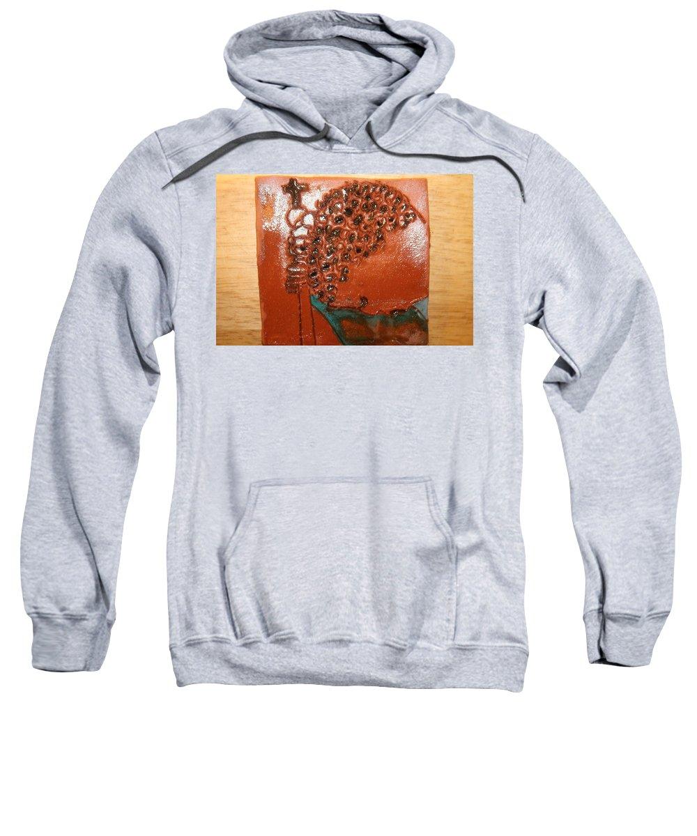 Jesus Sweatshirt featuring the ceramic art Prayer 38 - Tile by Gloria Ssali