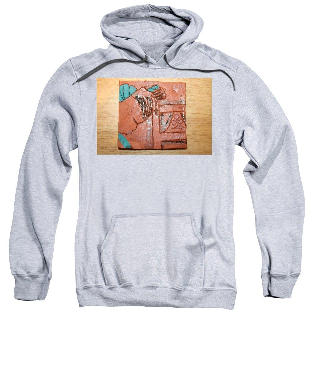Jesus Sweatshirt featuring the ceramic art Prayer 40 - Tile by Gloria Ssali