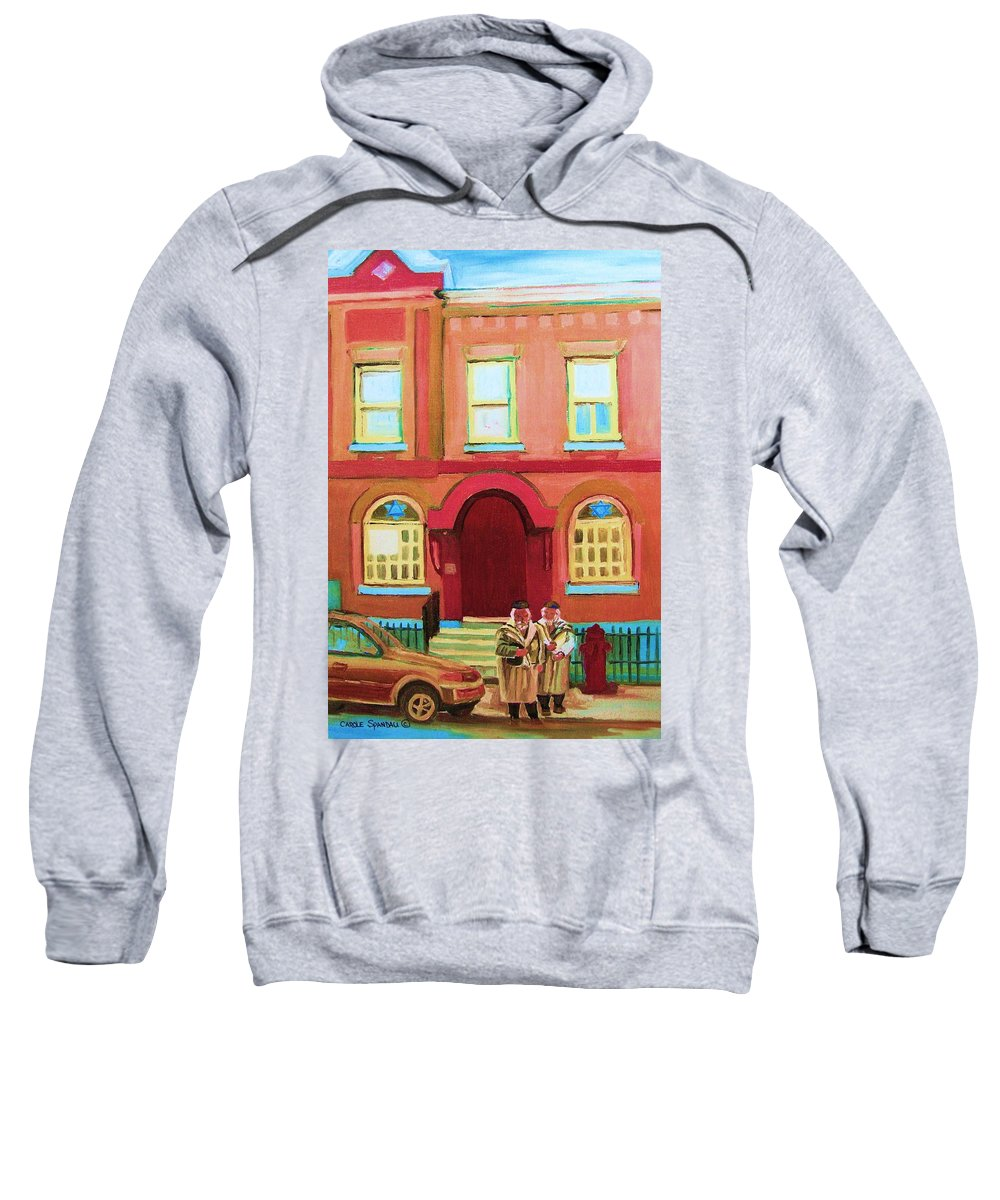 Bagg Street Synagogue Sweatshirt featuring the painting Prayer Shawls by Carole Spandau