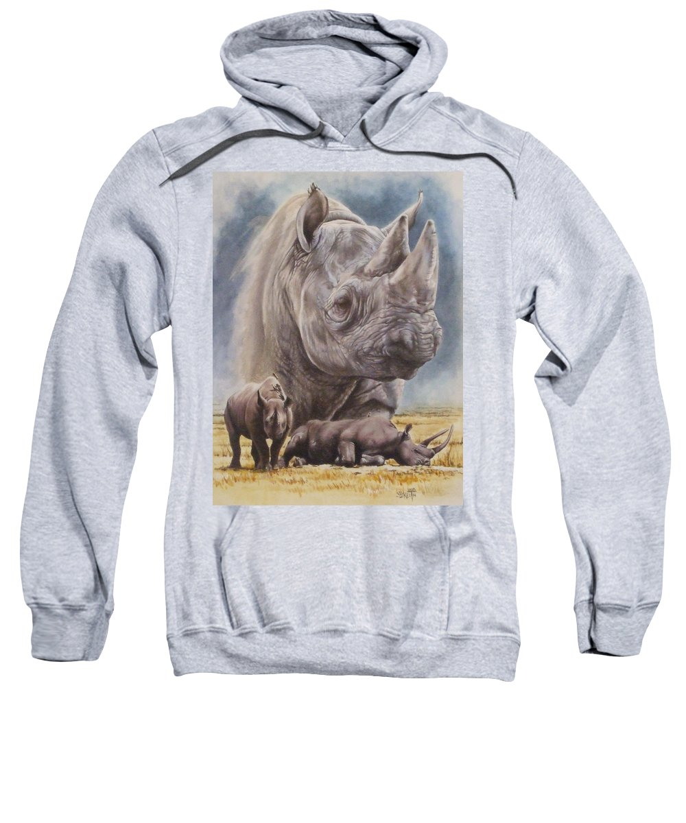Wildlife Sweatshirt featuring the mixed media Precarious by Barbara Keith
