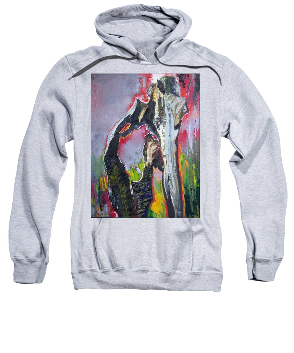 Oil Sweatshirt featuring the painting Presentiment by Sergey Ignatenko