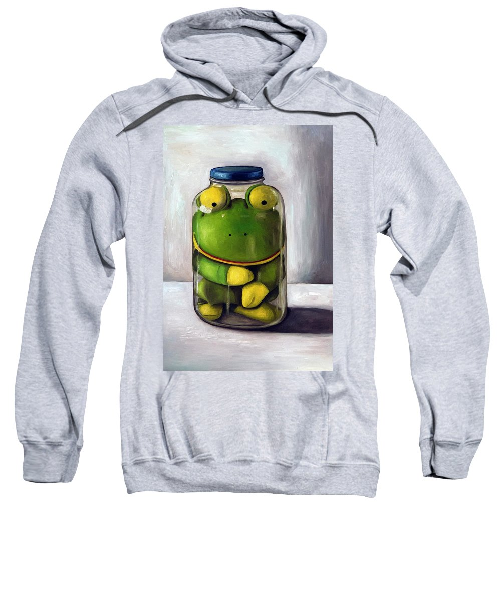 Frog Sweatshirt featuring the painting Preserving Childhood by Leah Saulnier The Painting Maniac