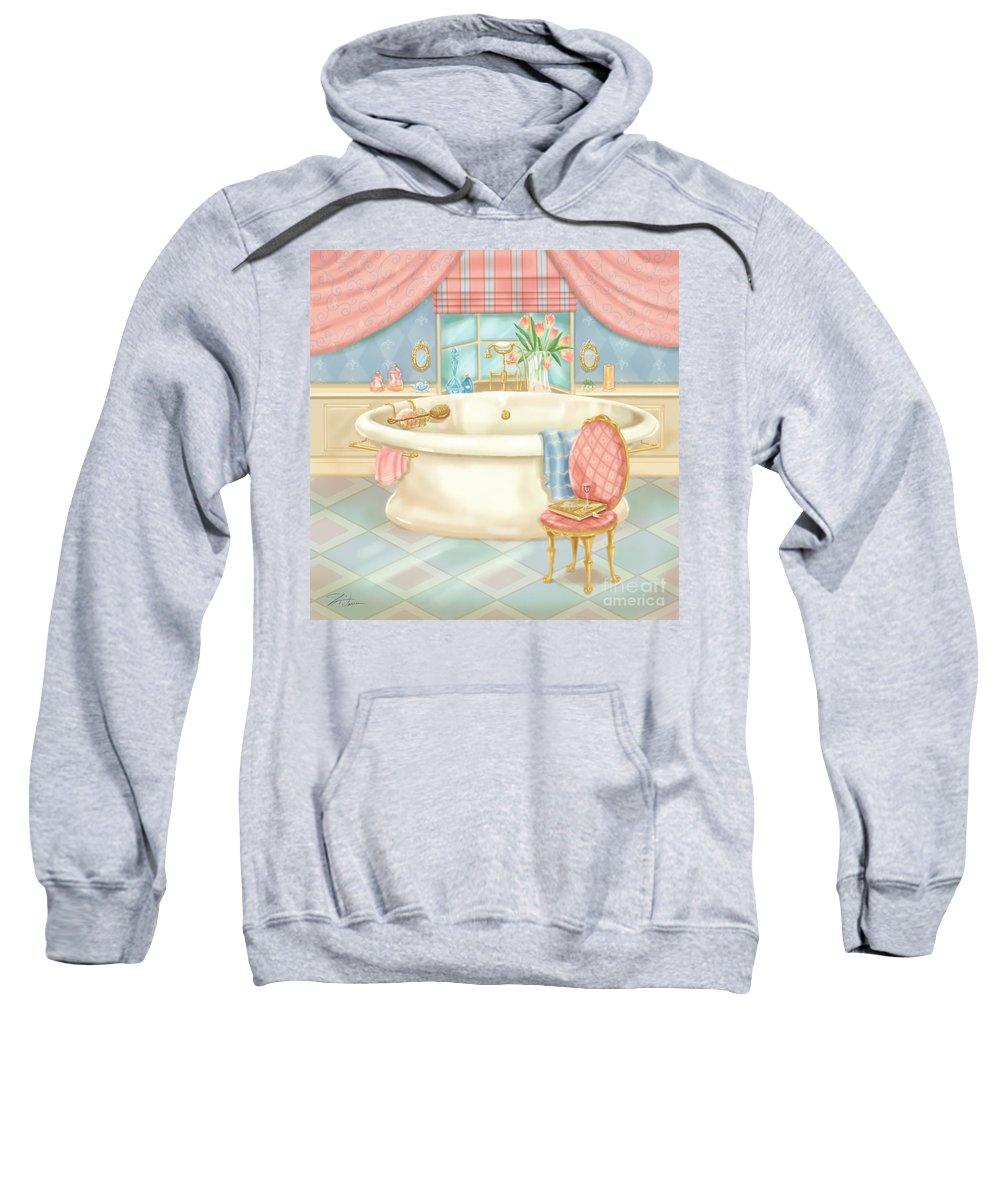 Room Sweatshirt featuring the mixed media Pretty Bathrooms II by Shari Warren