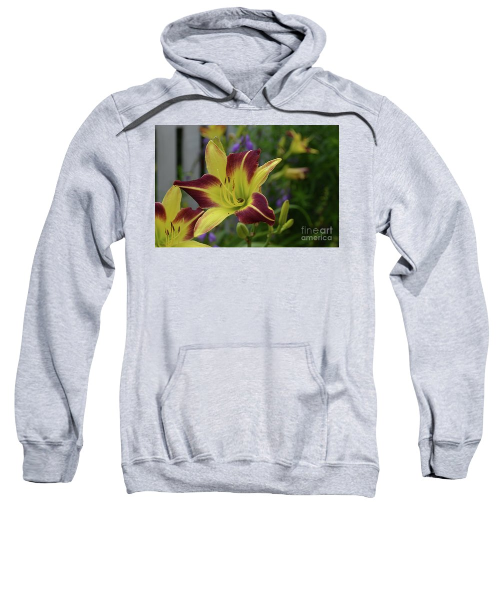 Lily Sweatshirt featuring the photograph Pretty Flowering Lily In A Garden by DejaVu Designs