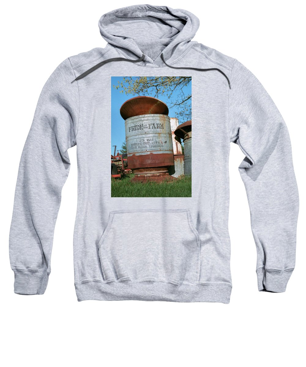 Farm Sweatshirt featuring the photograph Pride Of The Farm 25 Bushel Feeder by Grant Groberg