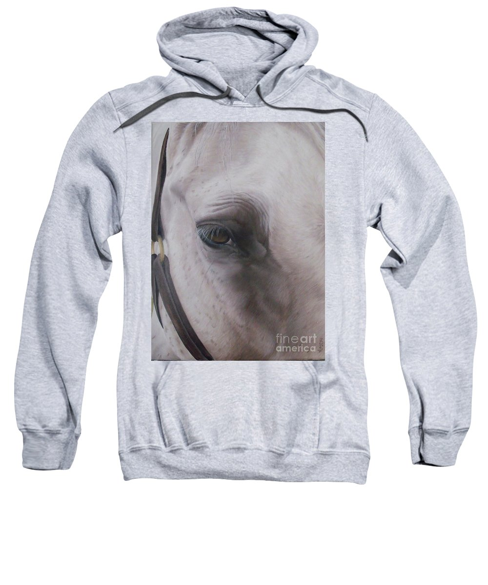 Horse Sweatshirt featuring the painting Prides Eye-pride Of The Lough by Pauline Sharp