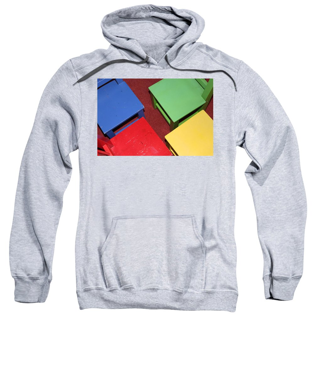 Chair Sweatshirt featuring the photograph Primary Chairs by Lauri Novak