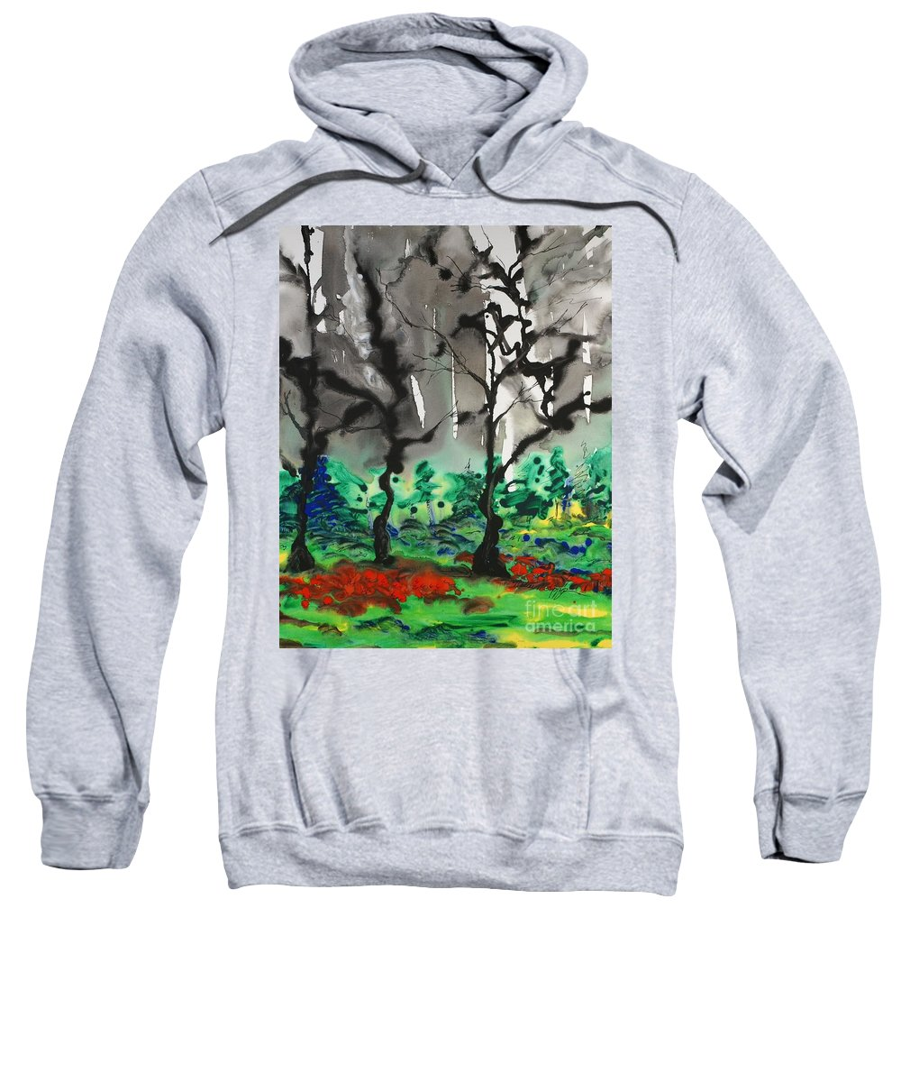 Forest Sweatshirt featuring the painting Primary Forest by Nadine Rippelmeyer
