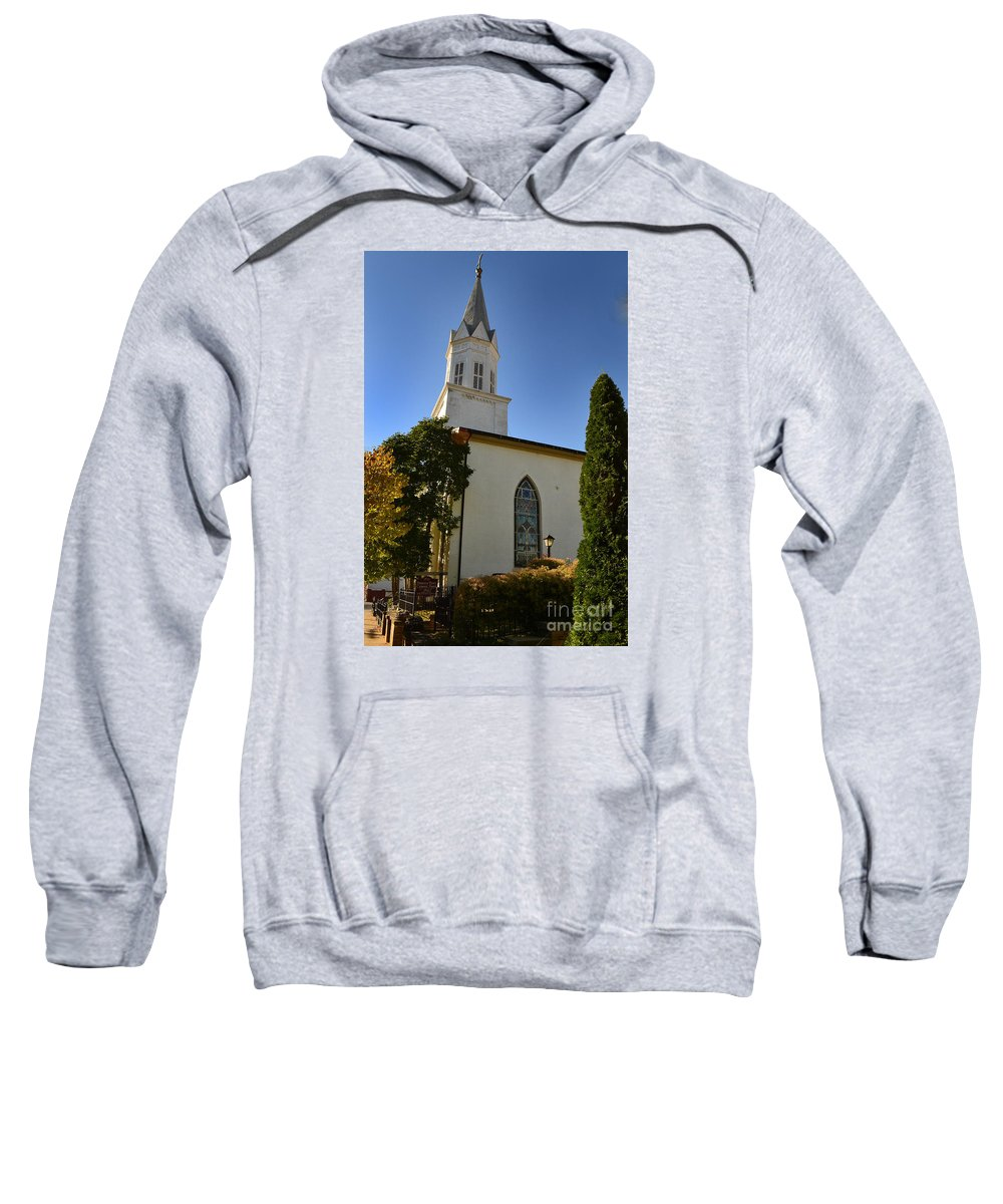 Prince Of Peace Sweatshirt featuring the photograph Prince Of Peace Catholic Church Madison by Amy Lucid