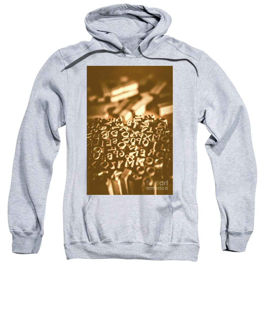 Print Sweatshirt featuring the photograph Print Industry Typographic Letters And Numbers by Jorgo Photography - Wall Art Gallery