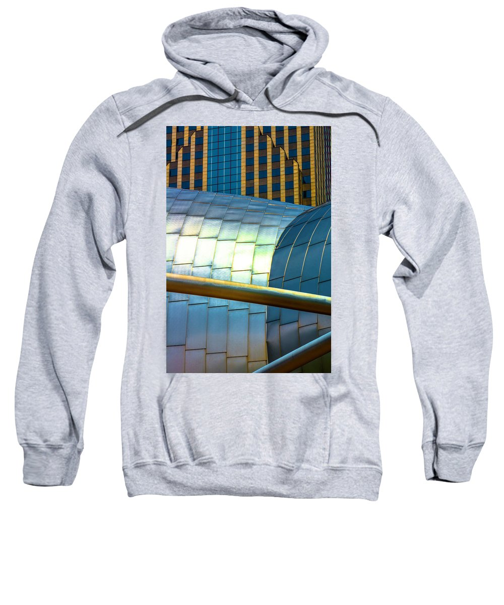 Sweatshirt featuring the photograph Pritzker Pavilion And Prudential Plaza Dsc2753 by Raymond Kunst
