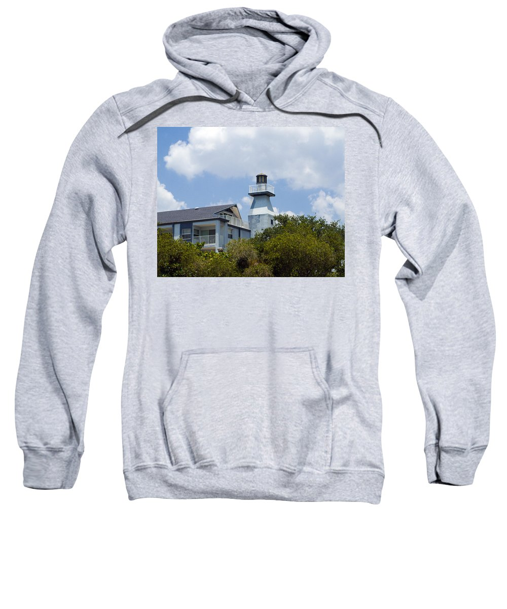 Light; Lighthouse; Private; Beacon; Keeper; Harbor; Harbour; Sail; Sailing; Boats; Boat; Craft; Anch Sweatshirt featuring the photograph Private Lighthouse On The Indian River Lagoon In Melbourne Florida by Allan Hughes