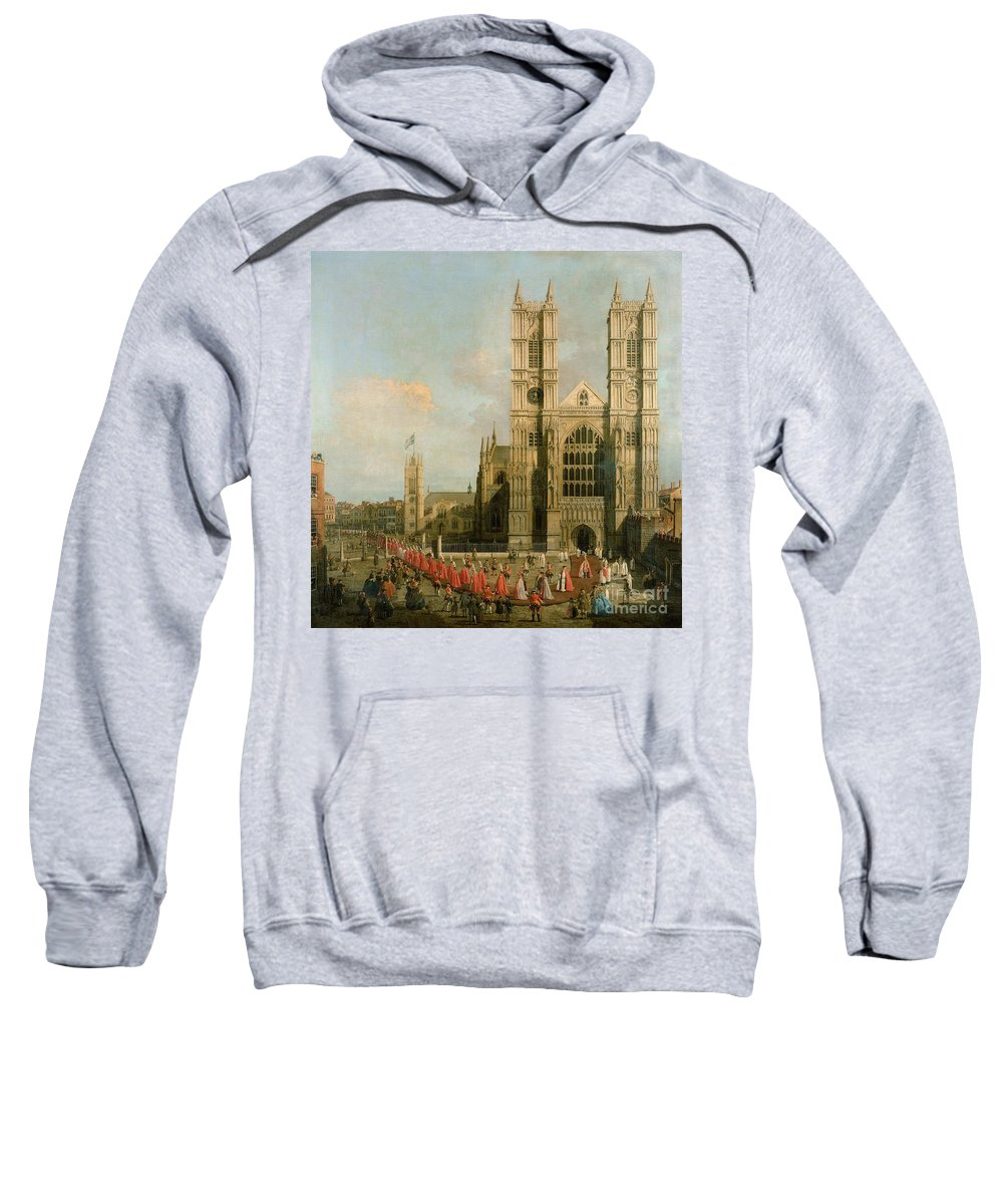 Canaletto Sweatshirt featuring the painting Procession Of The Knights Of The Bath by Canaletto