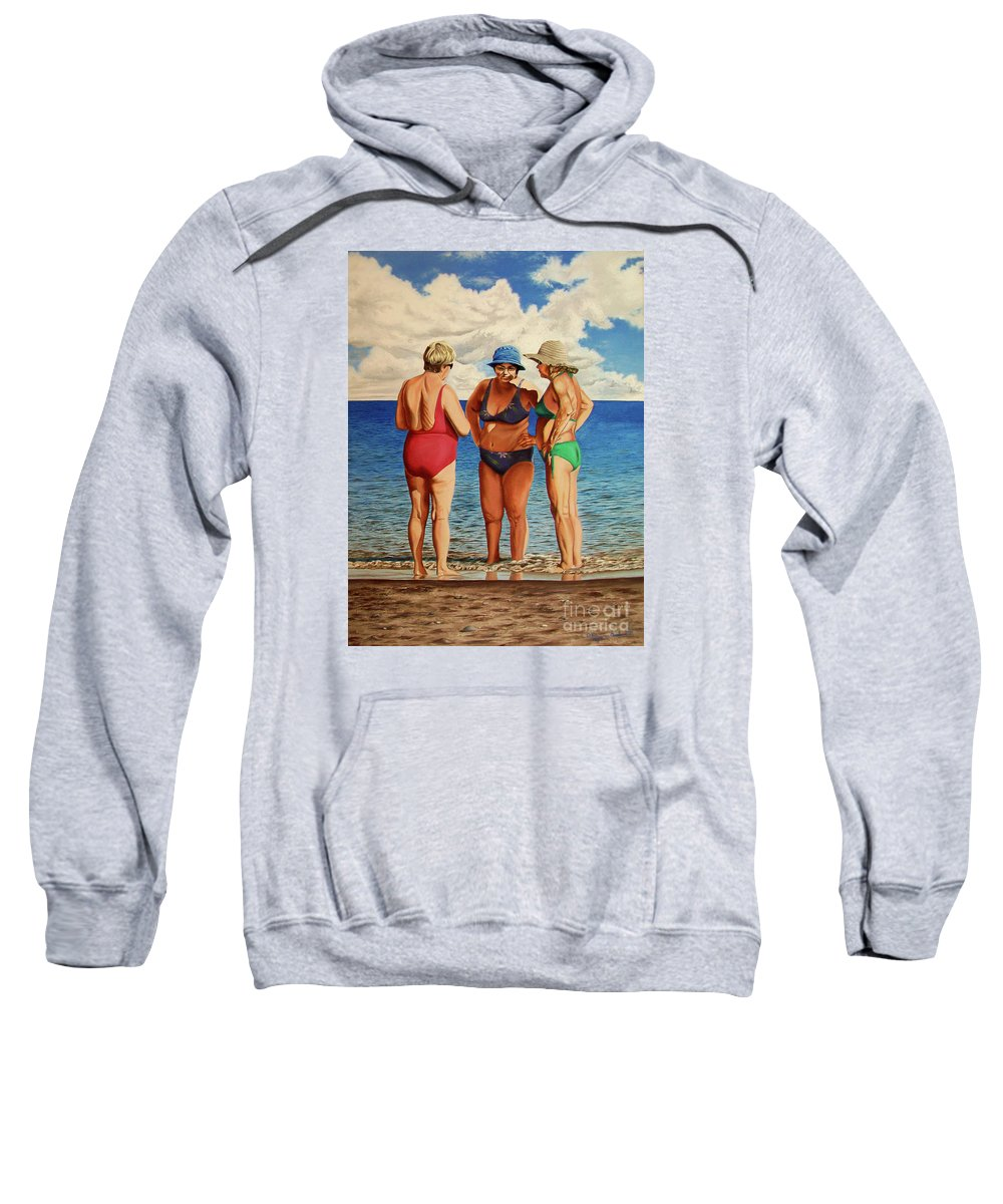 Woman Sweatshirt featuring the painting Profound Matters - Asuntos Profundos by Rezzan Erguvan-Onal