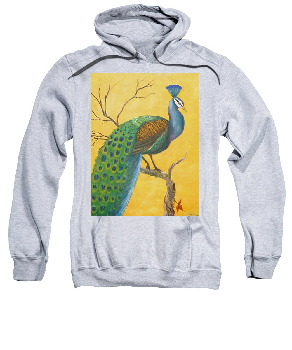 Peacock; Birds; Fall Leaves Sweatshirt featuring the painting Proud As A Peacock by Ben Kiger