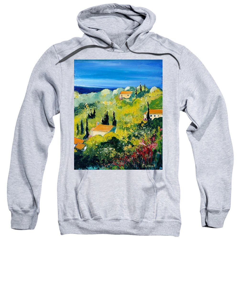 Village Sweatshirt featuring the painting Provence 459070 by Pol Ledent