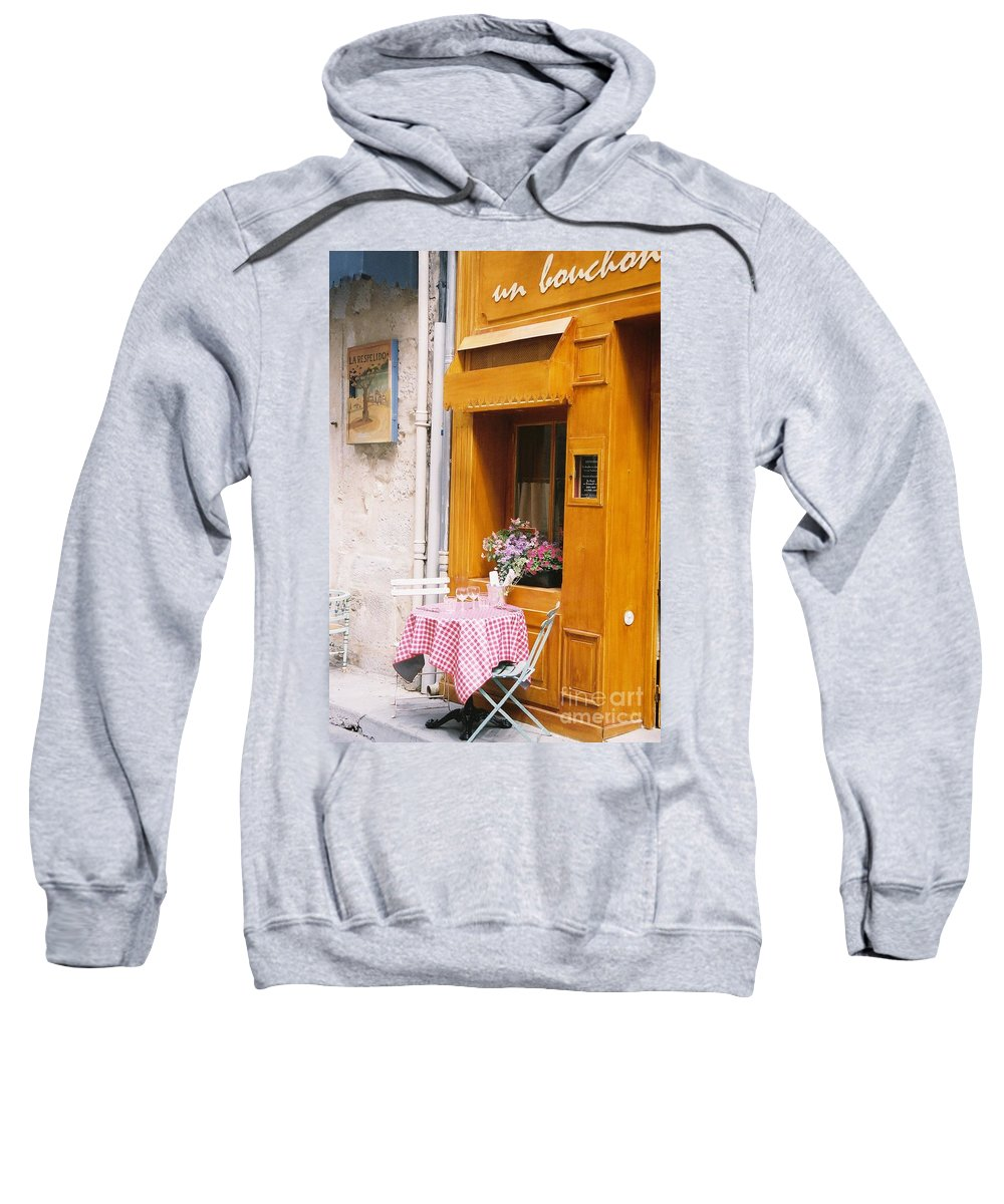 Cafe Sweatshirt featuring the photograph Provence Cafe by Nadine Rippelmeyer