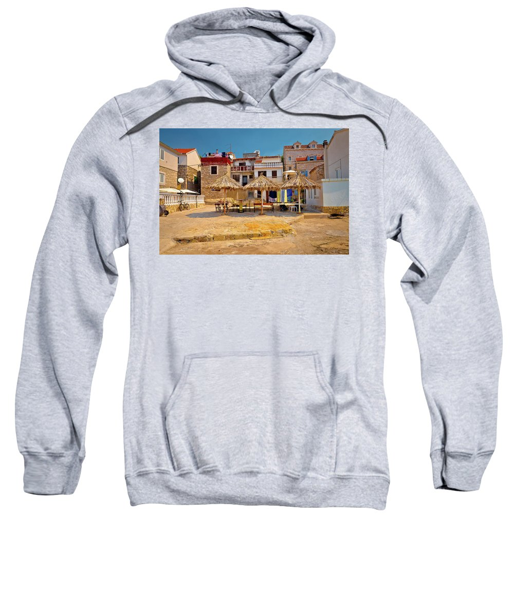 Prvic Sweatshirt featuring the photograph Prvic Luka Waterfront Architecture View by Brch Photography