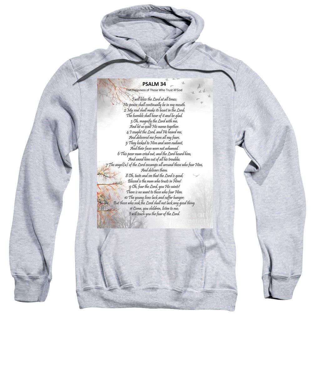Psalm 34 Sweatshirt featuring the digital art Psalm 34 Pg 2 by Trilby Cole